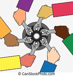 Helping Hands - Six diverse hands using wrenches on same...