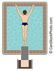 High Diver - Bird's eye view of man diving into swimming...