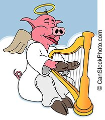 Hog Heaven - Angel pig is happily playing his harp