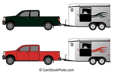 Horse Trailer With Pickup - Pickup pulling a horse trailer...