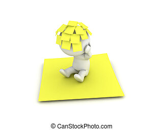 3D Character with many yellow post it sticky notes on his head sitting on a big yellow note