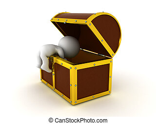 3D Character searching in a treasure chest. The chest is big...