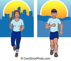 Male and female joggers - Two joggers with rural and city...