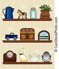 Knick Knack Shelves - Three shelves with various items