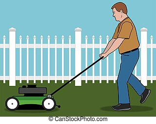 Lawn Mower - Man is mowing his lawn