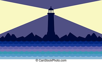 Lighthouse on the Coast - Lighthouse at night showing...
