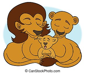 Lion Family - Cartoon lion family enjoying togetherness