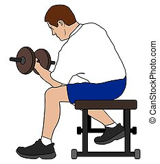 Man Lifting Dumbbells - Man is working out with weights