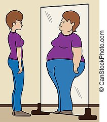 Mental Reflection - Thin woman sees herself as overweight in...