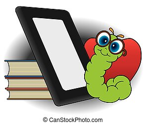 Modern Bookworm - Bookworm is looking at his electronic...