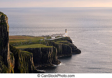 Beautiful Views of Neist Point Lighthouse at Dusk - Scenic...