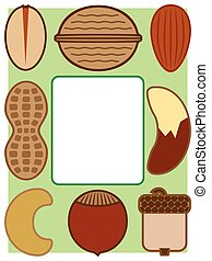 Nutty Border - Various types of nuts surrounding white space...