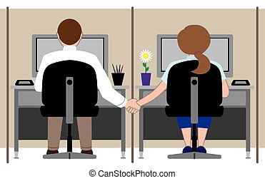 Office Romance - Two office workers are holding hands