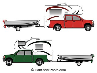 Pickup With Camper Pulling Boat - Pickup, camper and boat on...