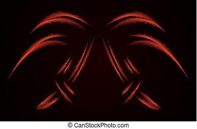 Digital red lines. Color form technology  illustration. Modern g