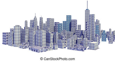 Rendered 3d city skyline isolated on white background