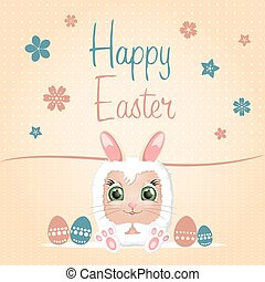 Happy easter day. Eggs and peeking bunny for greeting card