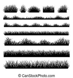 Grass silhouette borders set on background - Grass field...
