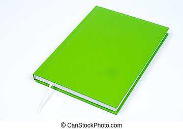 Green book with empty cover page over white background