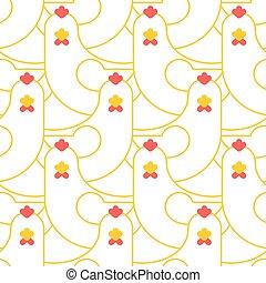 Chicken seamless pattern. Farm bird background ornament