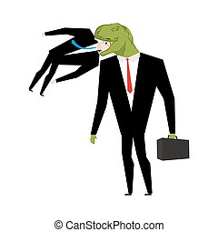 Tyrannosaurus businessman is eating competitor. dinosaur is boss. Dino is a manager.