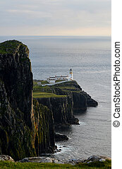 Towering Sea Cliffs at Neist Point on the Isle of Skye in...