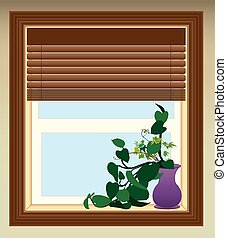 Plant in Window - House plant is resting on window sill
