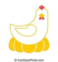 Chicken isolated. Farm bird on white background