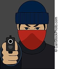 Robber With Gun - Robber with mask is pointing gun