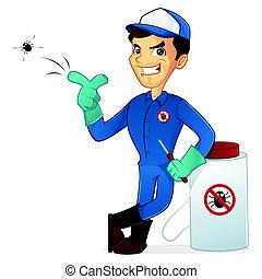Exterminator leaning on pest sprayer and killing bug...