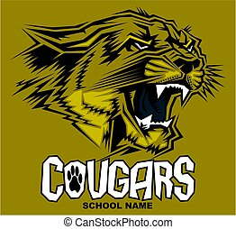 cougars mascot design - stylized cougars mascot team design...