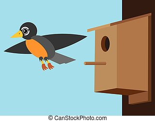 Robin Leaving Birdhouse - Robin is flying away from...