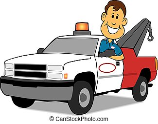 Service Man and Tow Truck - Cartoon tow truck driver is...