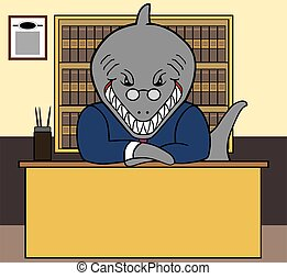 Shark Lawyer - Shark lawyer at his desk waiting for clients