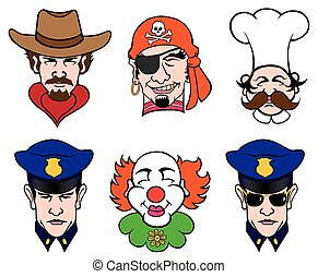 Six Faces - Six cartoon faces including cowboy, pirate,...