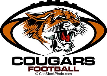 cougars football team design with mascot head for school,...