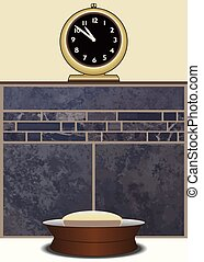 Soap Dish With Clock - Soap dish and clock including...