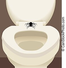 Spider On Toilet Seat - Spider is resting on toilet seat