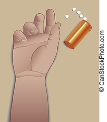 Suicide With Pills - Arm is next to spilled bottle of pills