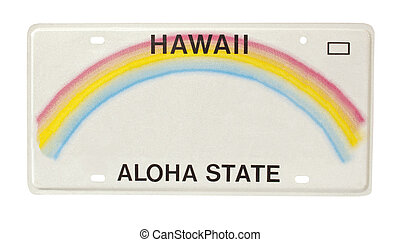 Hawaii license plate - car license plate for state of Hawaii