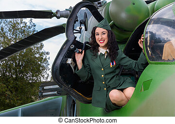 Old-timer helicopter and vintage soldier - Happy pin-up...