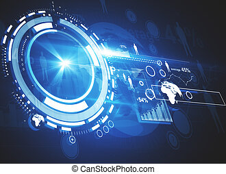 Technlogy concept - Abstract digital business panel with...