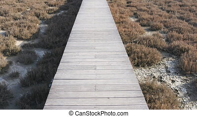 Old grey wooden bridge or walkway and tropical beach. Travel...