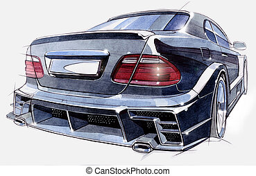 Sketch of a sports car rear view. Illustration.