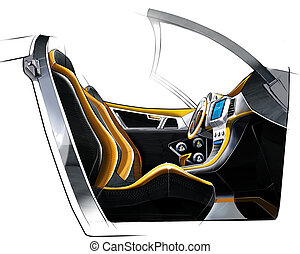 Sketch design of the modern conceptual interior of a sports coupe car. Illustration.