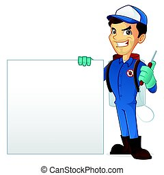 Exterminator holding blank sign isolated in white background