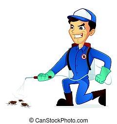 Exterminator killing bugs using pest sprayer isolated in...