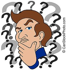 Undecided - Cartoon man surrounded by question marks is...