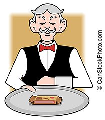 Waiter With Protein Bar - Stuffy waiter is presenting a...