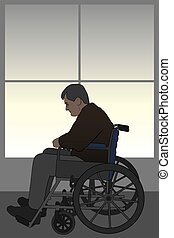 Wheelchair Bound - Man in wheelchair is suffering depression